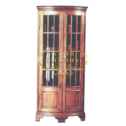 Rounded Front Corner Display Cabinet Teak Indonesian
