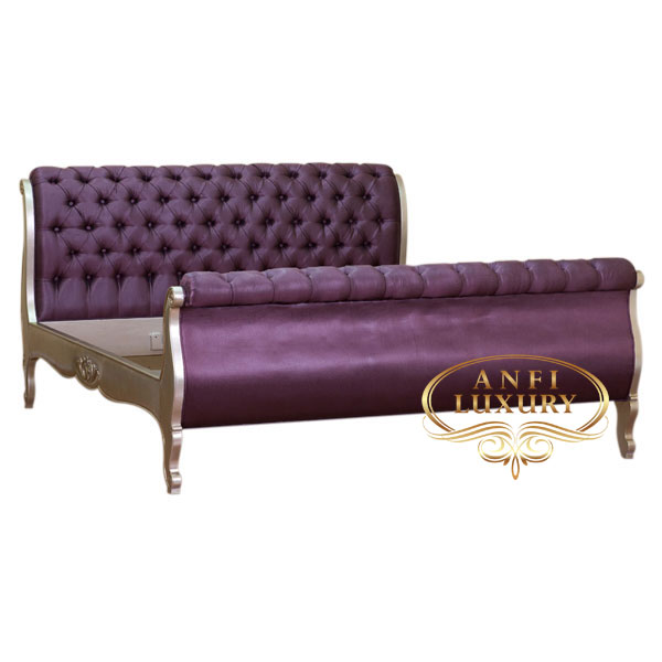 salma deep purple full upholstery bed