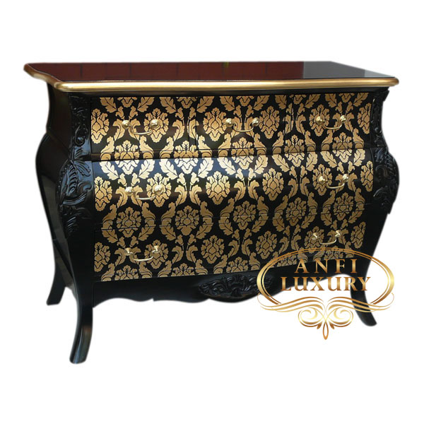 Batik Black Gold 5 Drawers Commode